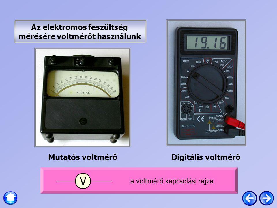 Az elektromos feszültség mérésére voltmérőt használunk Mutatós voltmérőDigitális voltmérő AA V a voltmérő kapcsolási rajza