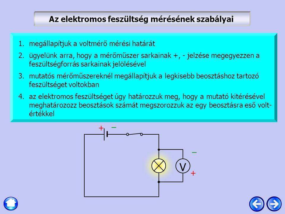 Az elektromos feszültség mérésének szabályai V 1.megállapítjuk a voltmérő mérési határát 2.ügyelünk arra, hogy a mérőműszer sarkainak +, - jelzése meg