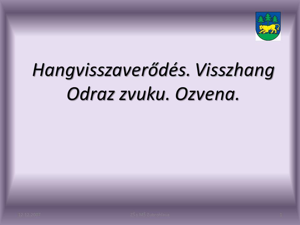Hangvisszaverődés. Visszhang Odraz zvuku. Ozvena. 12.12.20071ZŠ s MŠ Zubrohlava