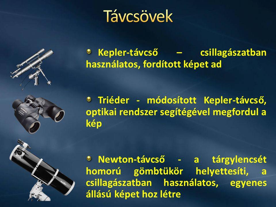 Kepler-távcső – csillagászatban használatos, fordított képet ad Triéder - módosított Kepler-távcső, optikai rendszer segítégével megfordul a kép Newto