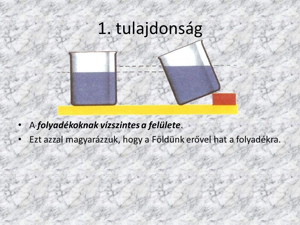 1.tulajdonság A folyadékoknak vízszintes a felülete.
