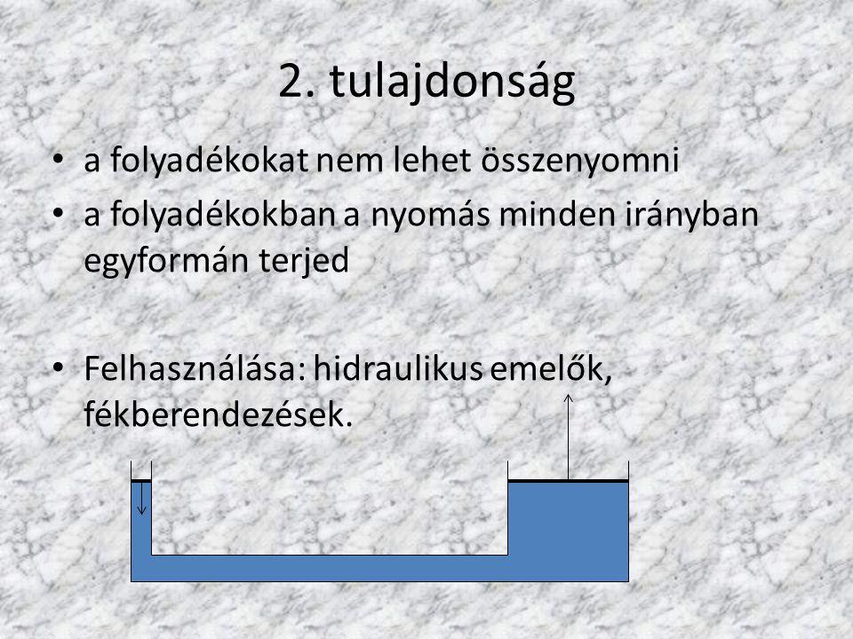 2. tulajdonság a folyadékokat nem lehet összenyomni a folyadékokban a nyomás minden irányban egyformán terjed Felhasználása: hidraulikus emelők, fékbe