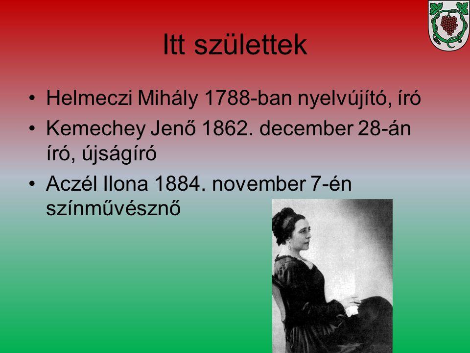 Itt születtek Helmeczi Mihály 1788-ban nyelvújító, író Kemechey Jenő 1862. december 28-án író, újságíró Aczél Ilona 1884. november 7-én színművésznő