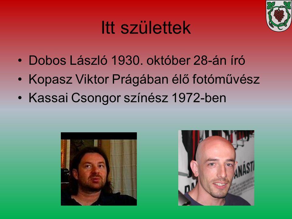 Dobos László 1930. október 28-án író Kopasz Viktor Prágában élő fotóművész Kassai Csongor színész 1972-ben Itt születtek