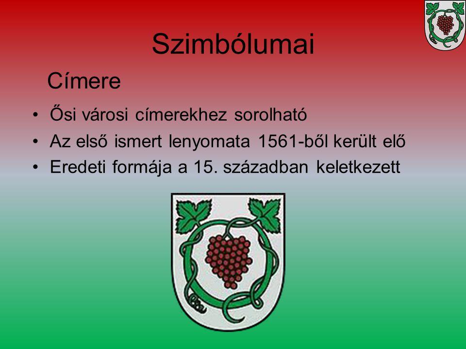 Szimbólumai Ősi városi címerekhez sorolható Az első ismert lenyomata 1561-ből került elő Eredeti formája a 15. században keletkezett Címere