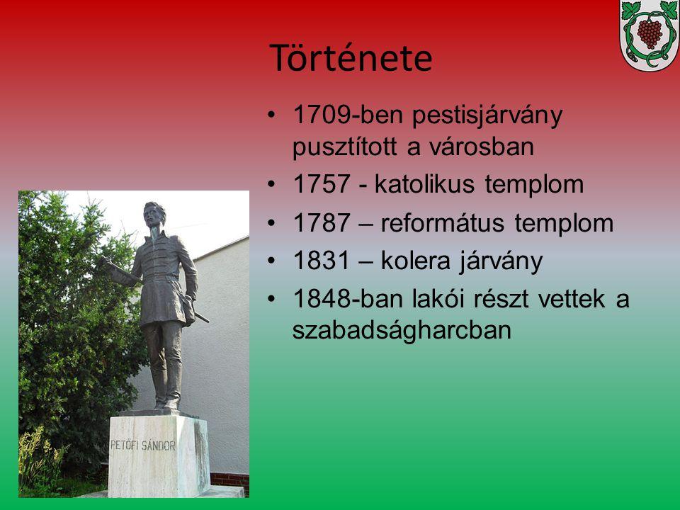 1709-ben pestisjárvány pusztított a városban 1757 - katolikus templom 1787 – református templom 1831 – kolera járvány 1848-ban lakói részt vettek a sz