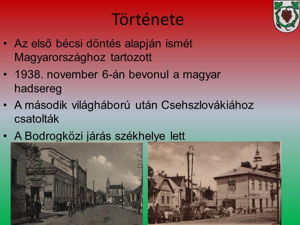 Története Az első bécsi döntés alapján ismét Magyarországhoz tartozott 1938. november 6-án bevonul a magyar hadsereg A második világháború után Csehsz