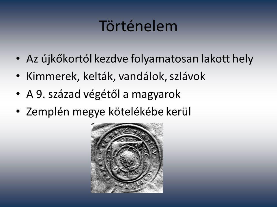 Történelem Az újkőkortól kezdve folyamatosan lakott hely Kimmerek, kelták, vandálok, szlávok A 9. század végétől a magyarok Zemplén megye kötelékébe k