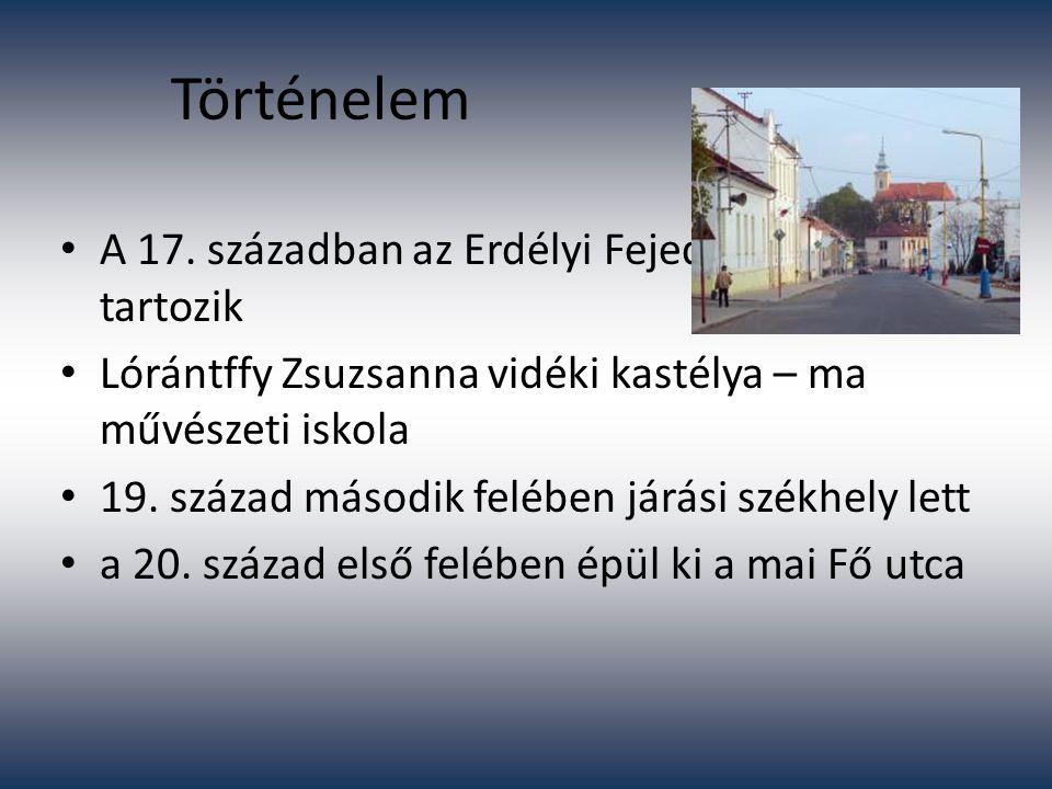 Történelem A 17. században az Erdélyi Fejedelemséghez tartozik Lórántffy Zsuzsanna vidéki kastélya – ma művészeti iskola 19. század második felében já