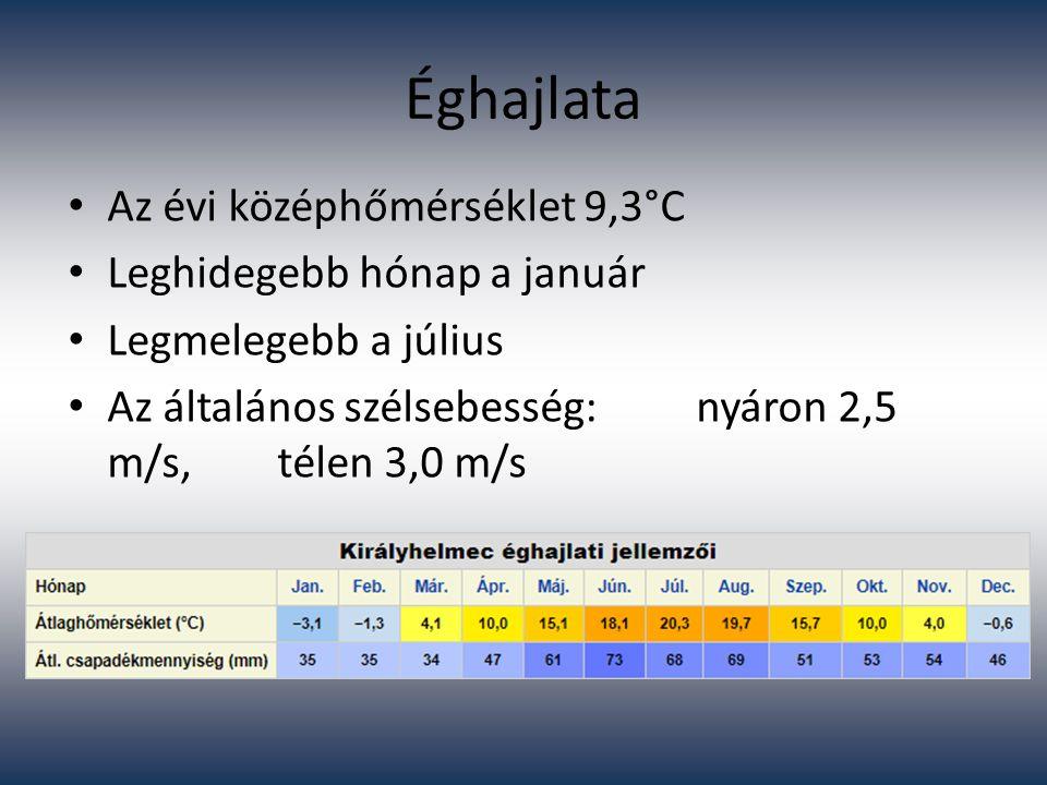 Éghajlata Az évi középhőmérséklet 9,3°C Leghidegebb hónap a január Legmelegebb a július Az általános szélsebesség:nyáron 2,5 m/s, télen 3,0 m/s