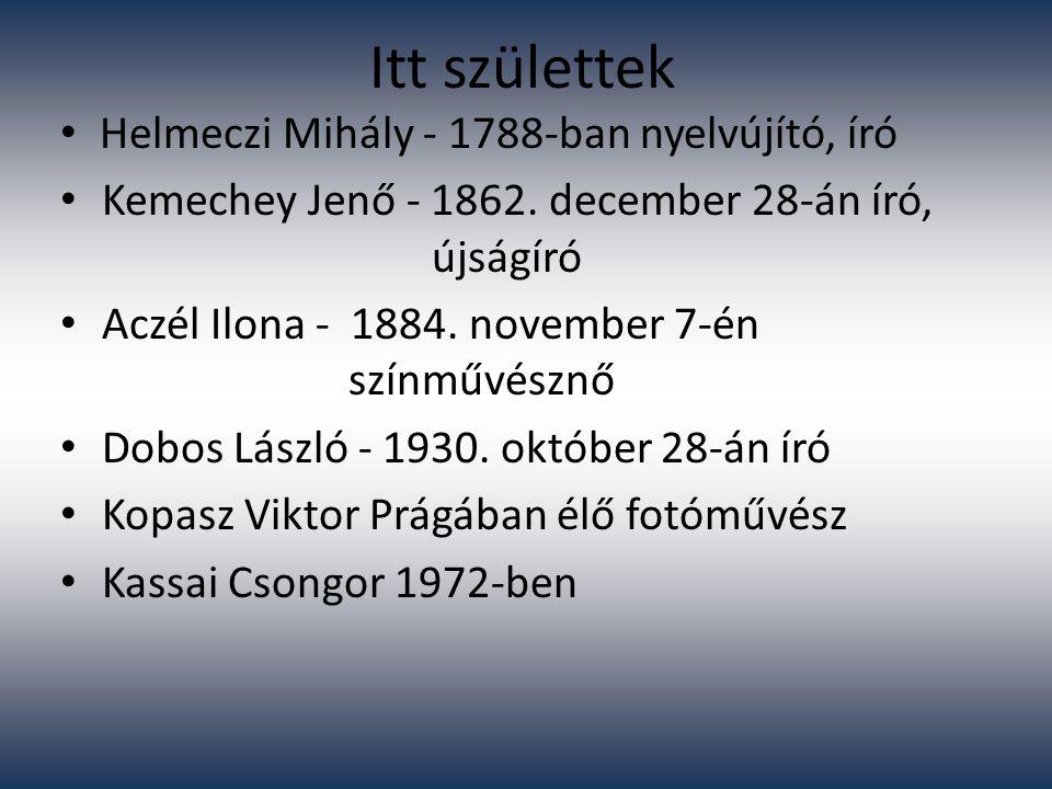 Itt születtek Helmeczi Mihály - 1788-ban nyelvújító, író Kemechey Jenő - 1862. december 28-án író, újságíró Aczél Ilona - 1884. november 7-én színművé