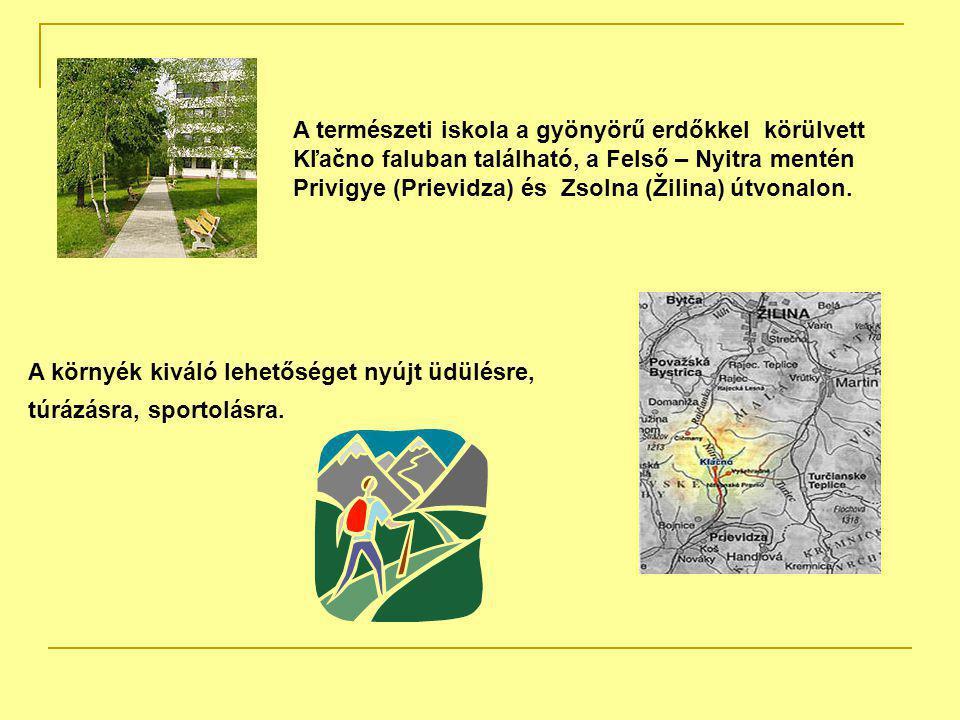 A természeti iskola a gyönyörű erdőkkel körülvett Kľačno faluban található, a Felső – Nyitra mentén Privigye (Prievidza) és Zsolna (Žilina) útvonalon.