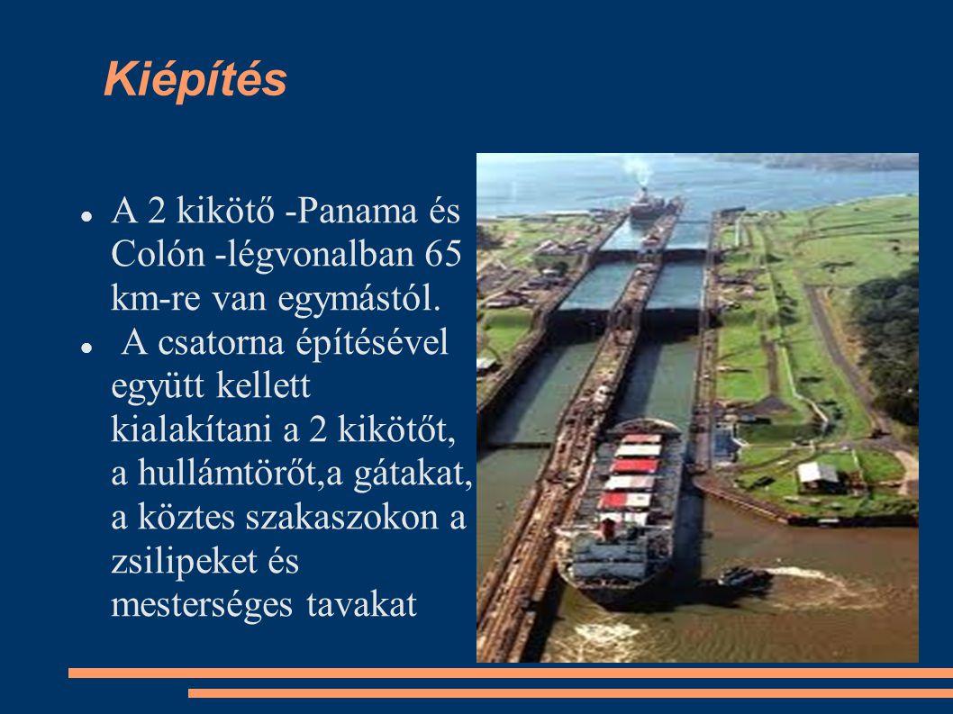 A 2 kikötő -Panama és Colón -légvonalban 65 km-re van egymástól. A csatorna építésével együtt kellett kialakítani a 2 kikötőt, a hullámtörőt,a gátakat