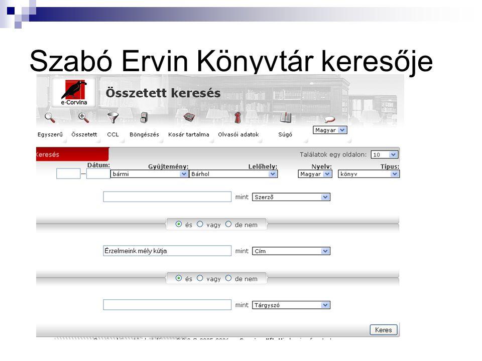 Szabó Ervin Könyvtár keresője