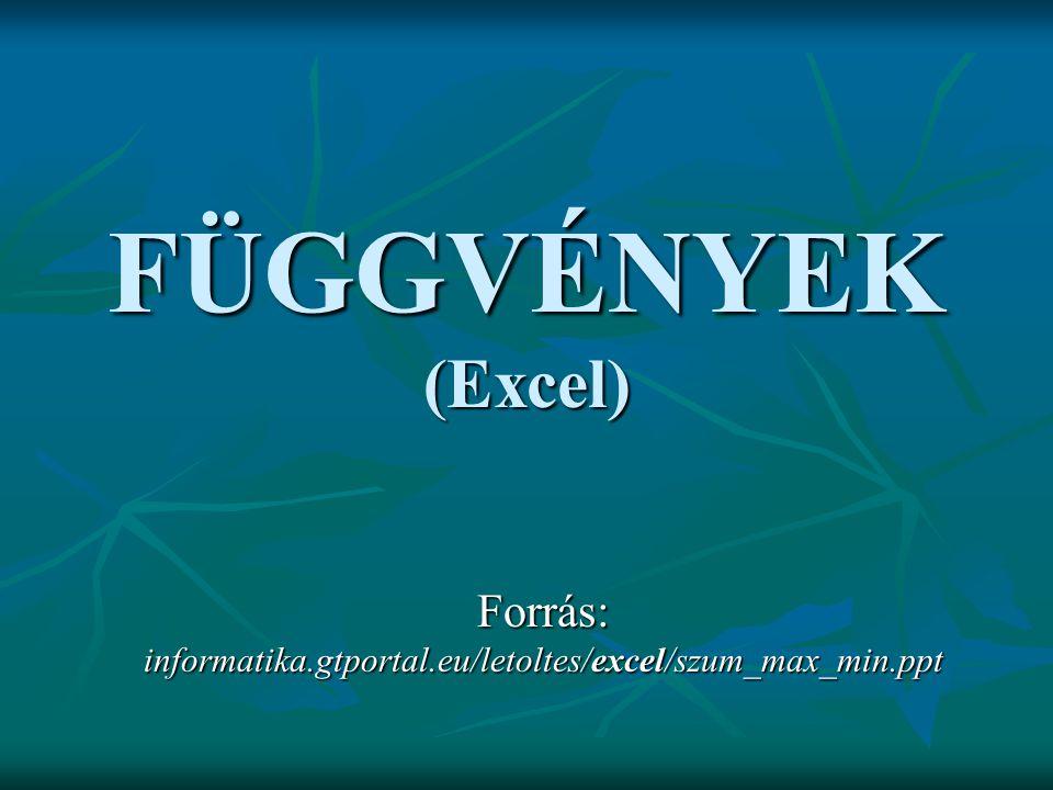 FÜGGVÉNYEK (Excel) Forrás: informatika.gtportal.eu/letoltes/excel/szum_max_min.ppt