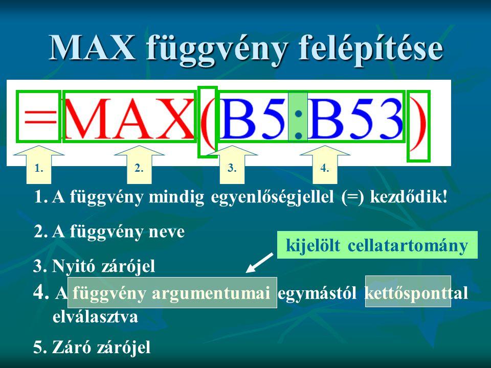 MAX függvény felépítése 1. A függvény mindig egyenlőségjellel (=) kezdődik! 1. 2. A függvény neve 2. 3. Nyitó zárójel 3. 4. A függvény argumentumai eg