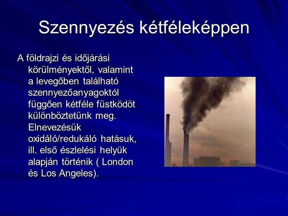 Szennyezés kétféleképpen A földrajzi és időjárási körülményektől, valamint a levegőben található szennyezőanyagoktól függően kétféle füstködöt különböztetünk meg.
