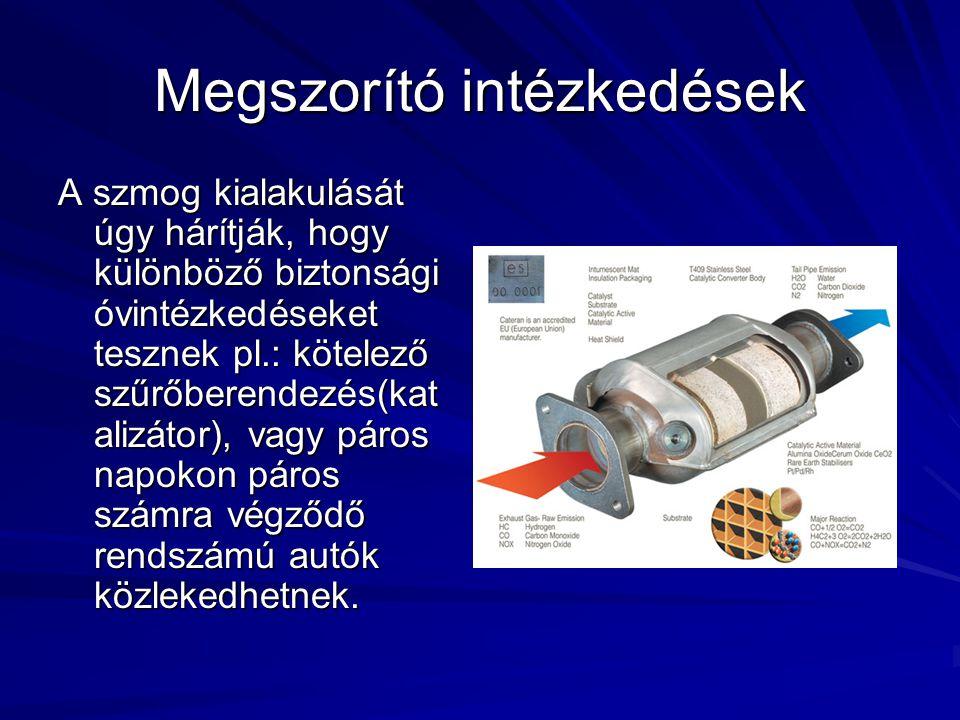 Megszorító intézkedések A szmog kialakulását úgy hárítják, hogy különböző biztonsági óvintézkedéseket tesznek pl.: kötelező szűrőberendezés(kat alizát