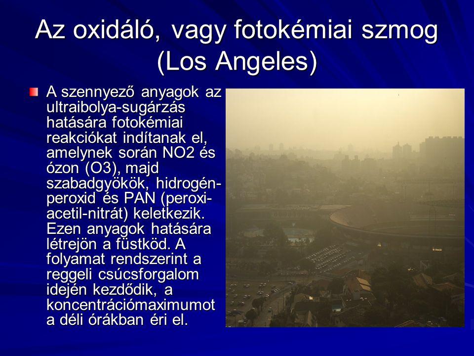 Az oxidáló, vagy fotokémiai szmog (Los Angeles) A szennyező anyagok az ultraibolya-sugárzás hatására fotokémiai reakciókat indítanak el, amelynek során NO2 és ózon (O3), majd szabadgyökök, hidrogén- peroxid és PAN (peroxi- acetil-nitrát) keletkezik.