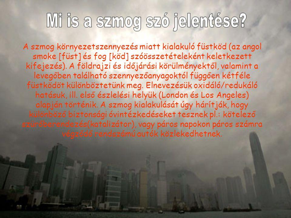 A szmog környezetszennyezés miatt kialakuló füstköd (az angol smoke [füst] és fog [köd] szóösszetételeként keletkezett kifejezés).