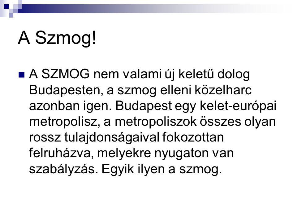 A Szmog! A SZMOG nem valami új keletű dolog Budapesten, a szmog elleni közelharc azonban igen. Budapest egy kelet-európai metropolisz, a metropoliszok