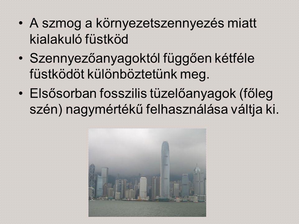 A szmog a környezetszennyezés miatt kialakuló füstköd Szennyezőanyagoktól függően kétféle füstködöt különböztetünk meg. Elsősorban fosszilis tüzelőany