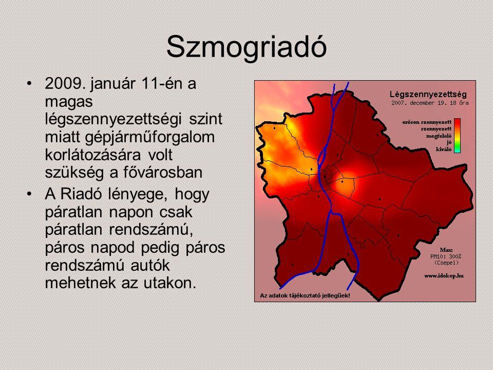 Szmogriadó 2009. január 11-én a magas légszennyezettségi szint miatt gépjárműforgalom korlátozására volt szükség a fővárosban A Riadó lényege, hogy pá