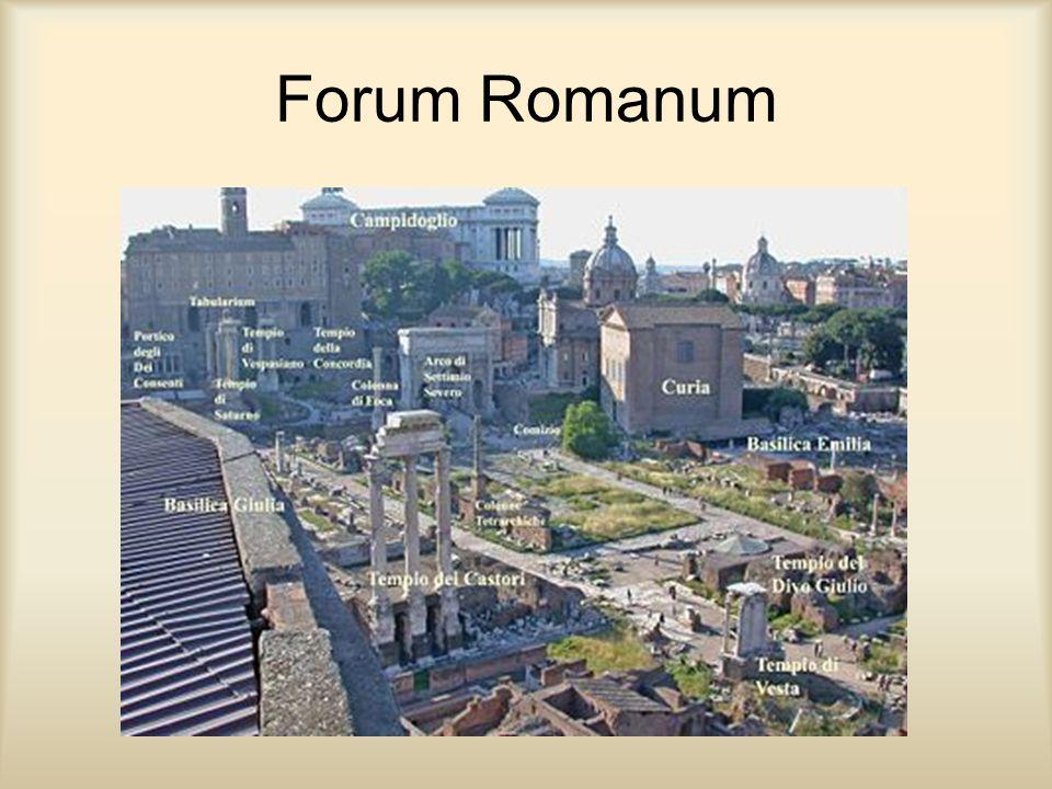A Fórum A fórum a rómaiaknál köztér, piac, nyilvános hely a városokban vásár, gyülekezés, törvénykezés céljára.