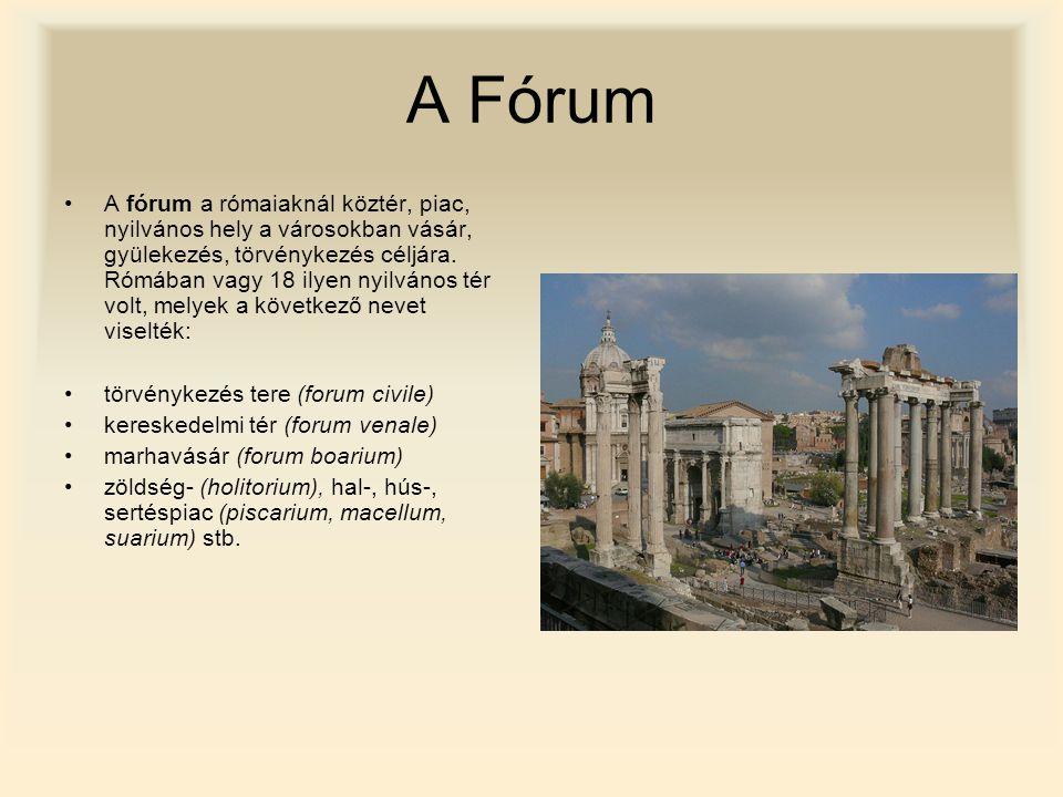 A Fórum A fórum a rómaiaknál köztér, piac, nyilvános hely a városokban vásár, gyülekezés, törvénykezés céljára. Rómában vagy 18 ilyen nyilvános tér vo