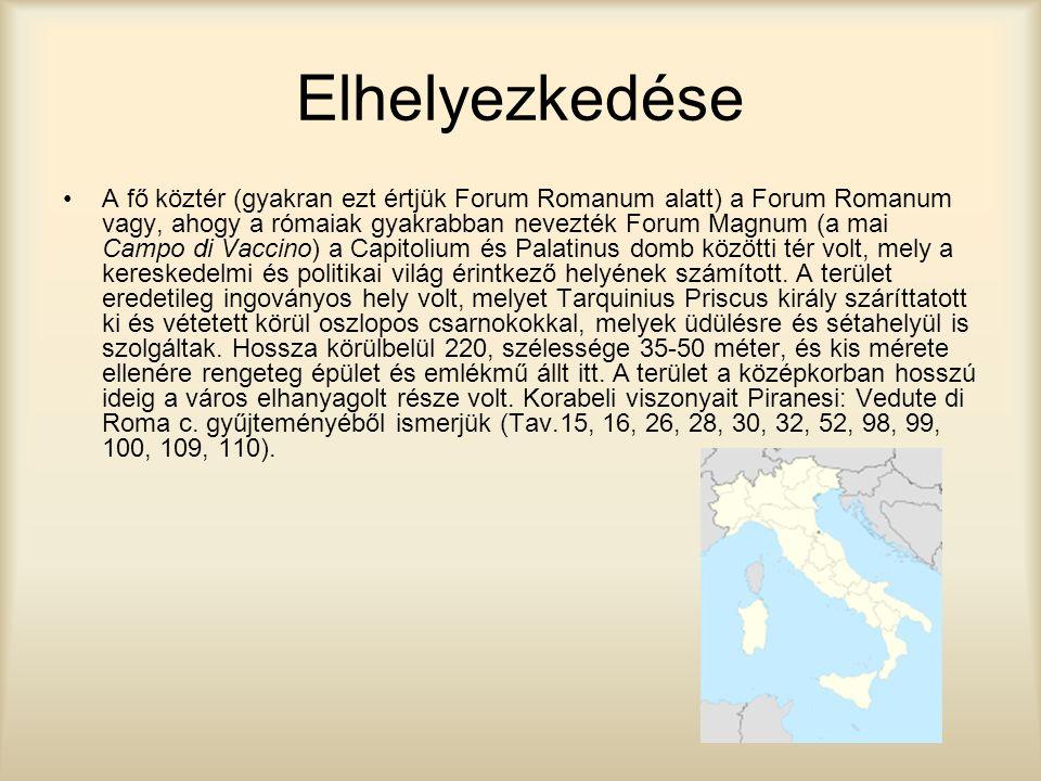 Elhelyezkedése A fő köztér (gyakran ezt értjük Forum Romanum alatt) a Forum Romanum vagy, ahogy a rómaiak gyakrabban nevezték Forum Magnum (a mai Camp