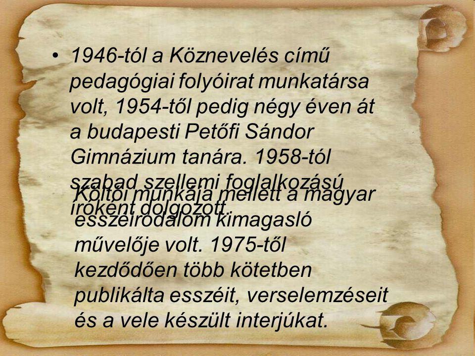 1946-tól a Köznevelés című pedagógiai folyóirat munkatársa volt, 1954-től pedig négy éven át a budapesti Petőfi Sándor Gimnázium tanára.