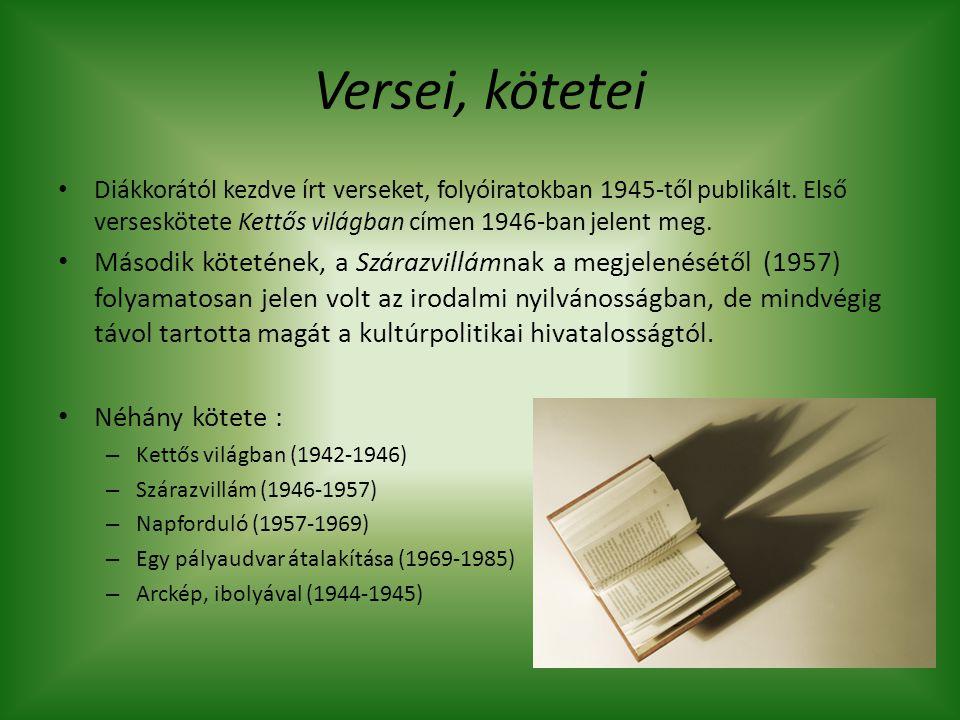 Versei, kötetei Diákkorától kezdve írt verseket, folyóiratokban 1945-től publikált. Első verseskötete Kettős világban címen 1946-ban jelent meg. Másod