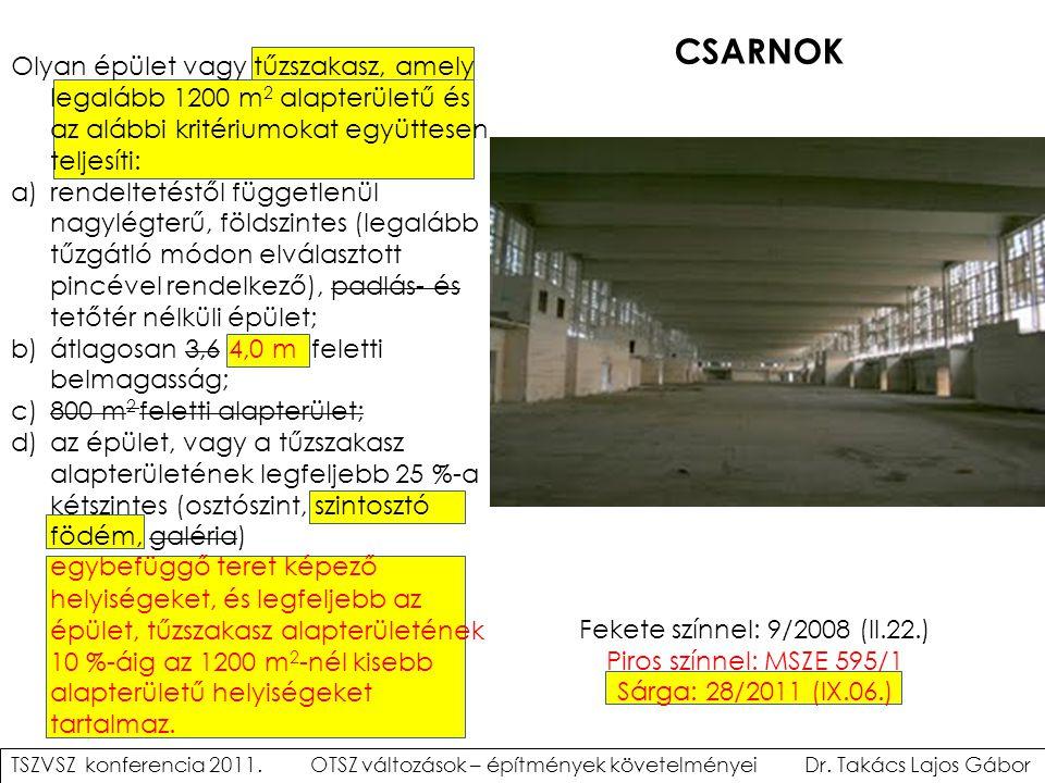 Fekete színnel: 9/2008 (II.22.) Piros színnel: MSZE 595/1 Sárga: 28/2011 (IX.06.) CSARNOK TSZVSZ konferencia 2011. OTSZ változások – építmények követe