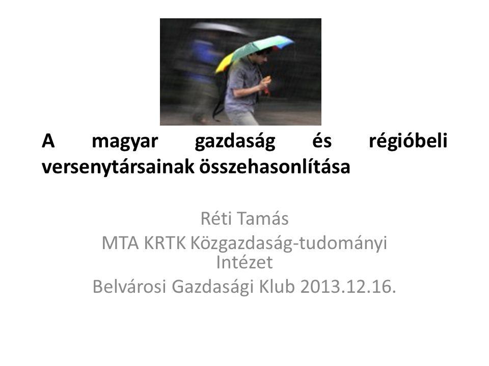 A magyar gazdaság és régióbeli versenytársainak összehasonlítása Réti Tamás MTA KRTK Közgazdaság-tudományi Intézet Belvárosi Gazdasági Klub 2013.12.16