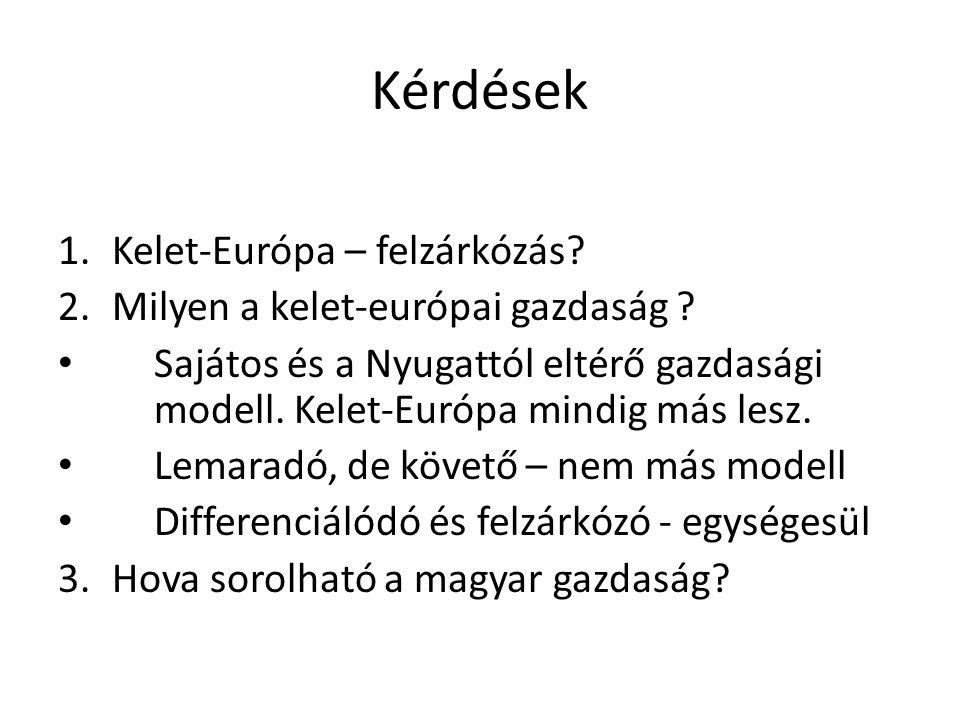 Kérdések 1.Kelet-Európa – felzárkózás? 2.Milyen a kelet-európai gazdaság ? Sajátos és a Nyugattól eltérő gazdasági modell. Kelet-Európa mindig más les