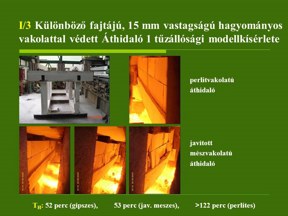 I/3 Különböző fajtájú, 15 mm vastagságú hagyományos vakolattal védett Áthidaló 1 tűzállósági modellkísérlete javított mészvakolatú áthidaló perlitvako