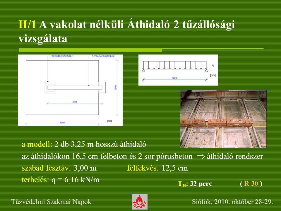 II/1 A vakolat nélküli Áthidaló 2 tűzállósági vizsgálata a modell: 2 db 3,25 m hosszú áthidaló az áthidalókon 16,5 cm felbeton és 2 sor pórusbeton  á