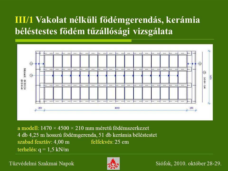 III/1 Vakolat nélküli födémgerendás, kerámia béléstestes födém tűzállósági vizsgálata a modell: 1470 × 4500 × 210 mm méretű födémszerkezet 4 db 4,25 m