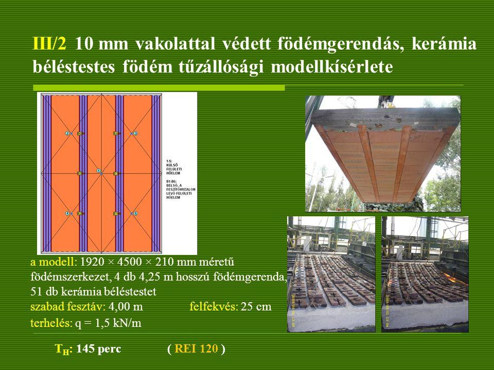III/2 10 mm vakolattal védett födémgerendás, kerámia béléstestes födém tűzállósági modellkísérlete T H : 145 perc ( REI 120 ) a modell: 1920 × 4500 ×