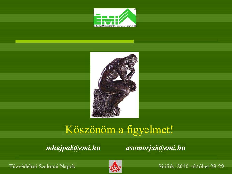 Köszönöm a figyelmet! mhajpal@emi.hu asomorjai@emi.hu Tűzvédelmi Szakmai Napok Siófok, 2010. október 28-29.