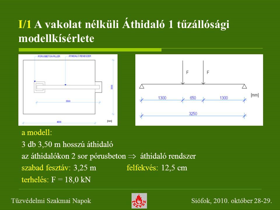 I/1 A vakolat nélküli Áthidaló 1 tűzállósági modellkísérlete a modell: 3 db 3,50 m hosszú áthidaló az áthidalókon 2 sor pórusbeton  áthidaló rendszer