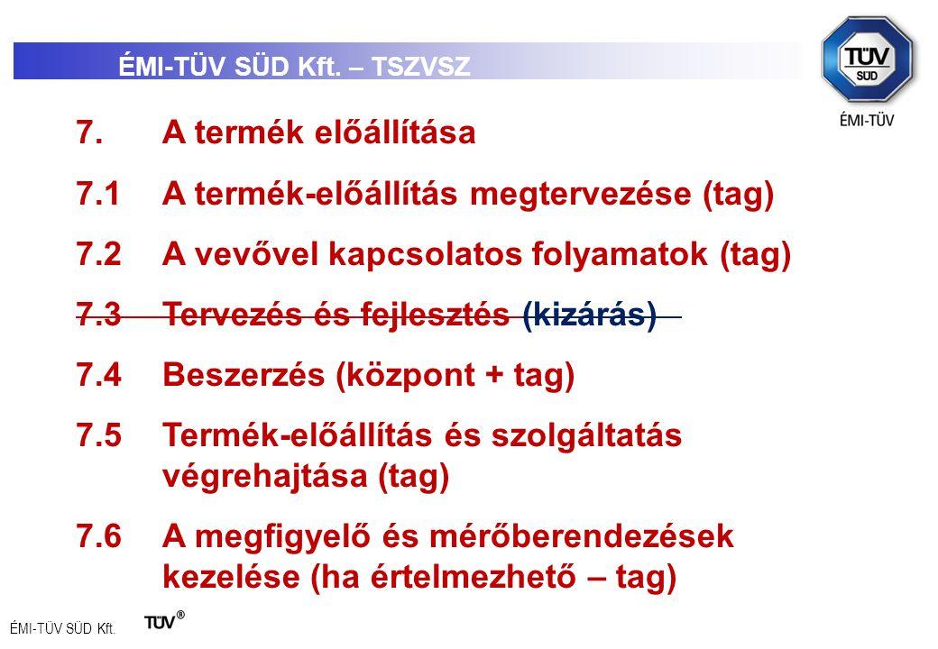 ÉMI-TÜV SÜD Kft. 7.A termék előállítása 7.1A termék-előállítás megtervezése (tag) 7.2A vevővel kapcsolatos folyamatok (tag) 7.3Tervezés és fejlesztés
