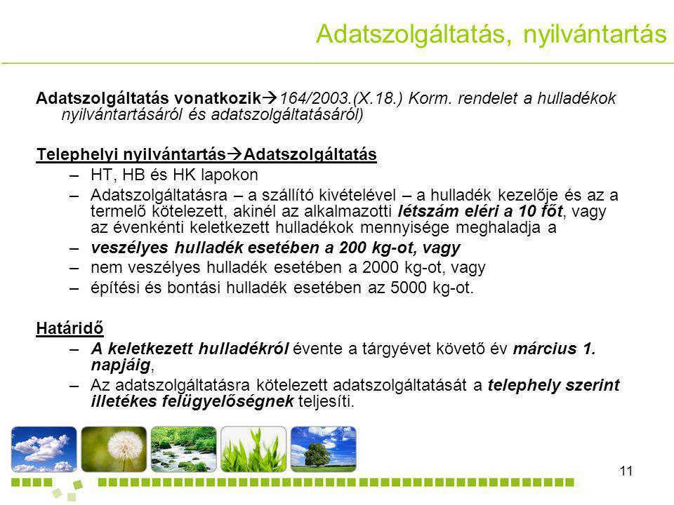 DANDELION Kft.11 Adatszolgáltatás vonatkozik  164/2003.(X.18.) Korm. rendelet a hulladékok nyilvántartásáról és adatszolgáltatásáról) Telephelyi nyil