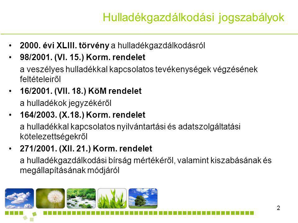 DANDELION Kft.2 Dia cím Hulladékgazdálkodási jogszabályok 2000. évi XLIII. törvény a hulladékgazdálkodásról 98/2001. (VI. 15.) Korm. rendelet a veszél