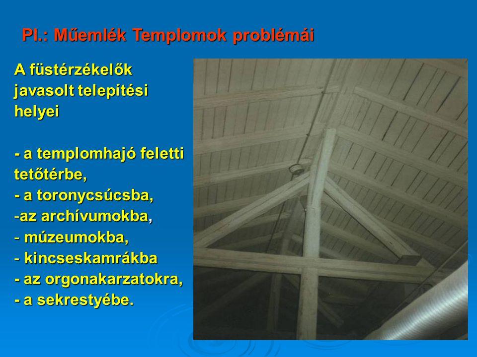 A füstérzékelők javasolt telepítési helyei - a templomhajó feletti tetőtérbe, - a toronycsúcsba, -az archívumokba, - múzeumokba, - kincseskamrákba - a