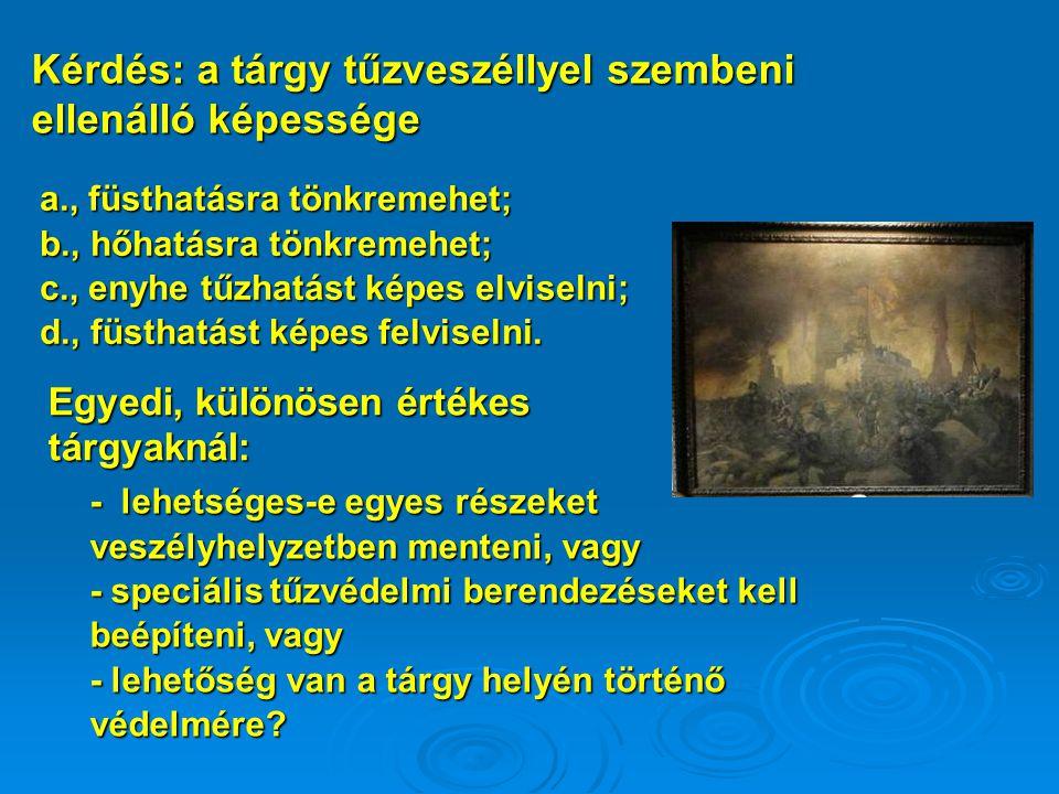 a., füsthatásra tönkremehet; b., hőhatásra tönkremehet; c., enyhe tűzhatást képes elviselni; d., füsthatást képes felviselni.