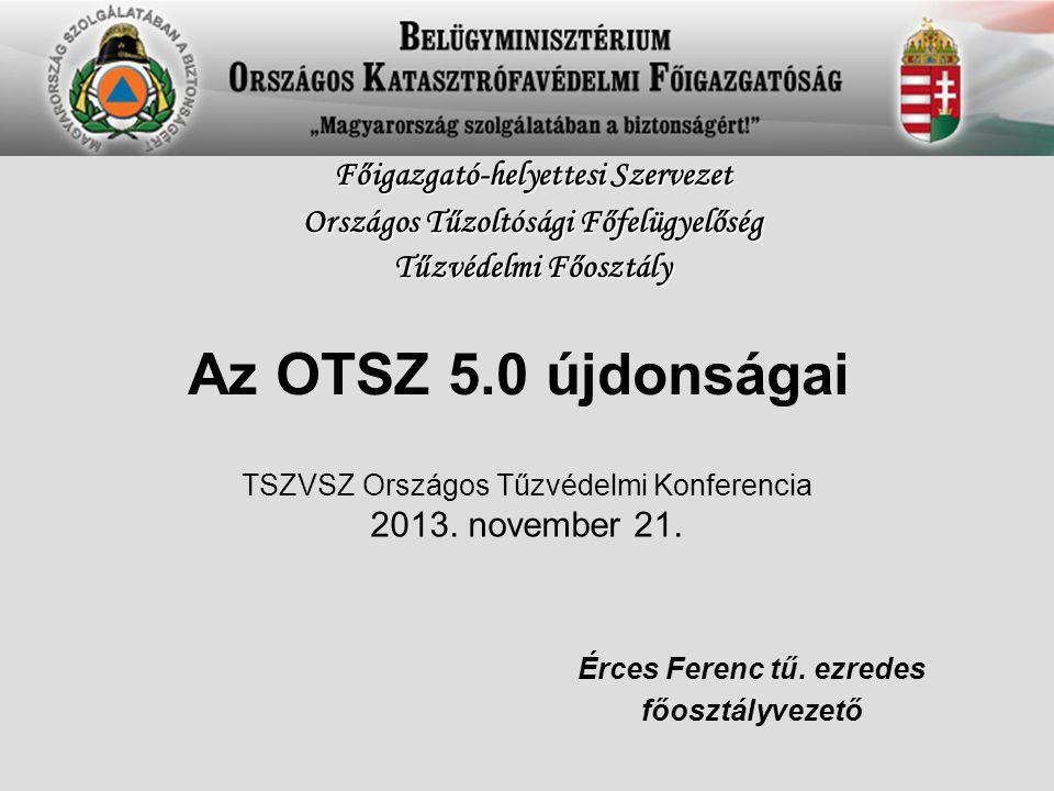 Az OTSZ 5.0 újdonságai Érces Ferenc tű. ezredes főosztályvezető Főigazgató-helyettesi Szervezet Országos Tűzoltósági Főfelügyelőség Tűzvédelmi Főosztá