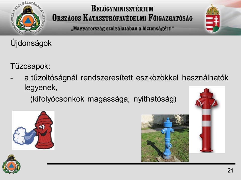 Újdonságok Tűzcsapok: -a tűzoltóságnál rendszeresített eszközökkel használhatók legyenek, (kifolyócsonkok magassága, nyithatóság) 21