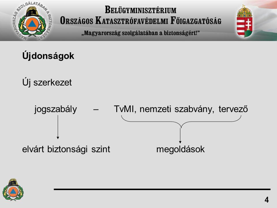 Újdonságok Új szerkezet jogszabály – TvMI, nemzeti szabvány, tervező elvárt biztonsági szint megoldások 4