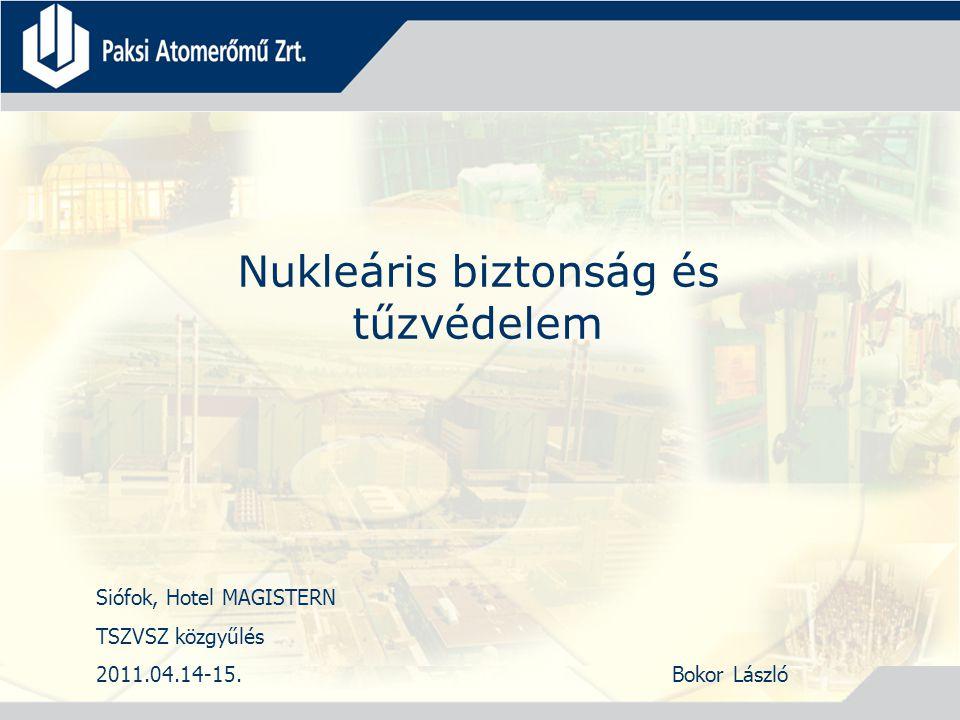 Nukleáris biztonság és tűzvédelem Siófok, Hotel MAGISTERN TSZVSZ közgyűlés 2011.04.14-15.Bokor László